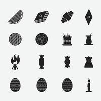 Satz von Novruz - Aserbaidschan traditionellen Feiertagssymbolen Linienikonen vektor