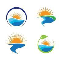 Sonnenuntergang Strand Logo Bilder vektor