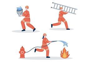 Feuerwehrleute mit Hausfeuerwehrautos, die Menschen und Tieren helfen und Rettungsausrüstung in verschiedenen Situationen einsetzen. Vektorillustration vektor