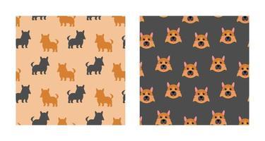 Set Charakter nahtloses Muster Tier des niedlichen deutschen Schäferhundes kann als Design Tapeten oder Hintergründe verwendet werden. Vektorillustration vektor