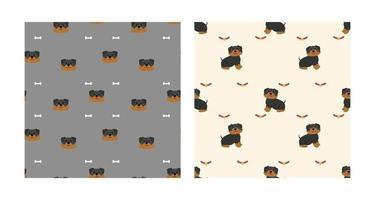 Set Charakter nahtloses Muster Tier von niedlichen Rottweiler Hund kann als Design Tapeten oder Hintergründe verwendet werden. Vektorillustration vektor