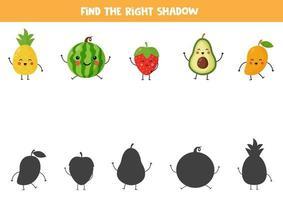 finde den richtigen Schatten von niedlichen kawaii Früchten. vektor