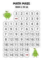 Mathe-Spiel für Kinder. süßer kawaii Apfel und Birne. vektor