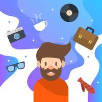 Flacher Hippie-Charakter und Elemente mit moderner sauberer Hintergrund-Vektor-Illustration vektor