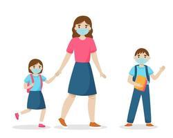 Mutter und Kinder gehen mit Hygienemasken zur Schule. Vektorillustration. vektor