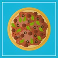 Realistisk Pizza Snabbmat Med Gradient Bakgrund Vektor Illustration