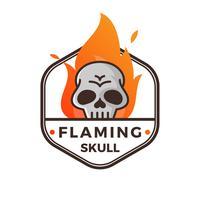 Flacher moderner unbedeutender lodernder Schädel mit Steigungs-Flammen-Hintergrund-Vektor-Illustration