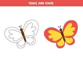 Verfolgung und Färbung niedlichen bunten Schmetterling. Schreiberfahrung. vektor