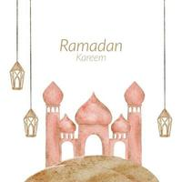 Ramadan Kareem Aquarell mit islamischer Laterneillustration der Moschee vektor