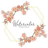 rustikaler Rahmen der Aquarell-Kirschblüten-Frühlingsblume vektor