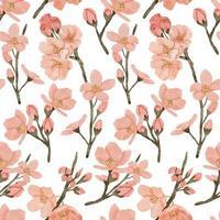 Aquarell Kirschblüte Frühlingsblume nahtloses Muster vektor