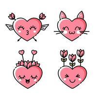 smiley hjärta uppsättning vektor