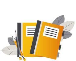 zwei Notizbücher mit Lesezeichen und Stiften vektor