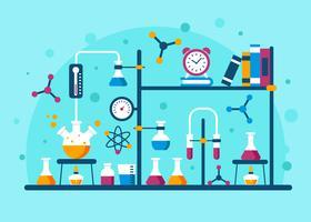 Chemie-Experiment-Vektor-Illustration