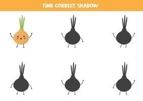 finde den richtigen Schatten der kawaii Zwiebel. vektor