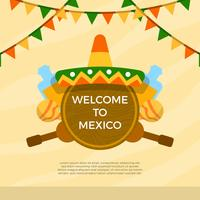 Flat Sombrero Och Mexikanska Element Med Bakgrund Vektor Illustration