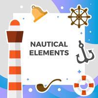 Flache nautische Element-Vektor-Sammlung vektor