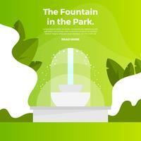 Flat Fontän Med Gradient Park Bakgrund Vector Illustration