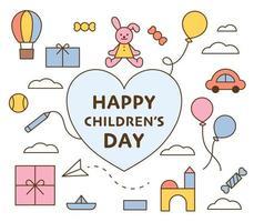 glückliche Kindertageskarte. eine Sammlung von Ikonen von Geschenken, die Kinder lieben. flache Designart minimale Vektorillustration. vektor