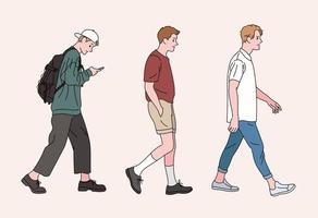 lässige Männer gehen. Hand gezeichnete Art Vektor-Design-Illustrationen. vektor