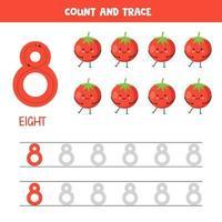 Arbeitsblatt zur Verfolgung von Zahlen. Nummer acht mit süßen kawaii roten Tomaten. vektor