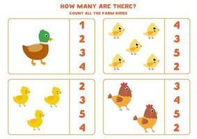 Zählspiel für Kinder. niedliche Kartonfarmvögel. vektor