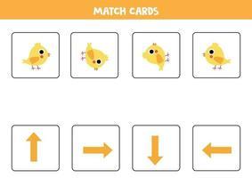 Orientierung für Kinder. Matchkarten mit Pfeilen und niedlichem Cartoonhuhn. vektor
