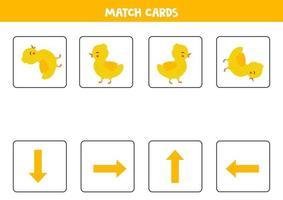 Match Orientierungspfeile und niedliches Cartoon-Entlein. vektor