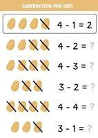 Subtraktion für Kinder. Cartoon-Kartoffel. Mathe-Spiel. vektor