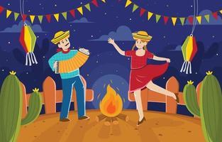 tanzen zusammen bei festa junina nacht vektor