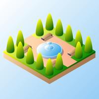 Isometrischer Wasser-Brunnen in der Park-Illustration vektor