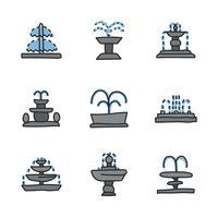 Gekritzelte Brunnen Icons vektor