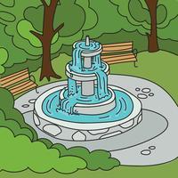 Park-Hintergrund mit einem Brunnen vektor