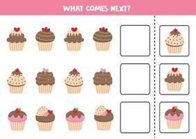 was kommt als nächstes. süße Cartoon-Muffins. Lernspiel. vektor
