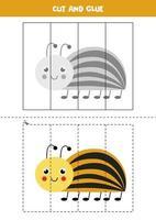 Spiel zum Schneiden und Kleben für Kinder. süßer Colorado Käfer. vektor