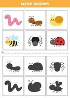 finde Schatten von niedlichen Insekten. Karten für Kinder. vektor