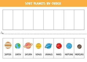 Sortieren Sie die Planeten des Sonnensystems nach Bestellung. Raumarbeitsblatt für Kinder. vektor