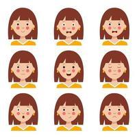 uppsättning av olika ansiktsuttryck av söt tecknad brunhårig tjej. vektor