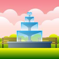 Brunnen im Garten an der Himmel-Hintergrund-Weinlese-Illustration vektor