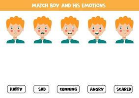 Match Gesichtsausdrücke des Jungen mit Emotionen. logisches Arbeitsblatt. vektor