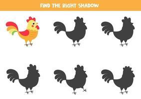 Finde den richtigen Schatten eines niedlichen Cartoon-Hahns. vektor