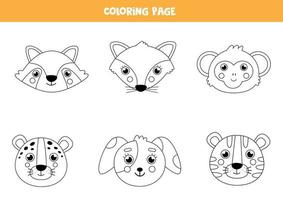 Farbe niedliche Tiergesichter. Malvorlagen für Kinder. vektor