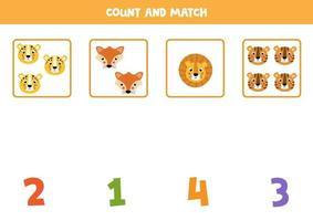 Mathe-Arbeitsblatt für Kinder. Zählspiel mit niedlichen Tiergesichtern. vektor