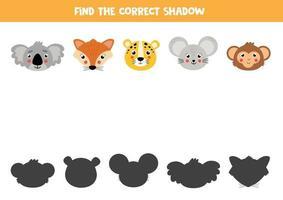 Finde den richtigen Schatten von niedlichen Cartoon-Tieren. vektor