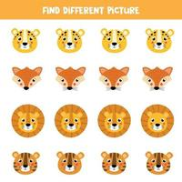 hitta olika bilder i varje rad. söta tecknade djur ansikten. vektor