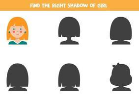 Finde den richtigen Schatten eines niedlichen Cartoon-Mädchens. vektor
