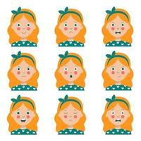 Satz von verschiedenen Gesichtsausdrücken des niedlichen Cartoon rothaarigen Mädchens. vektor