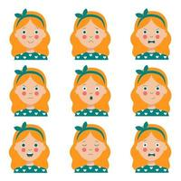 uppsättning olika ansiktsuttryck av söt tecknad rödhårig tjej. vektor
