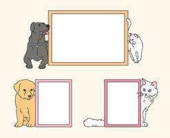 süße Hunde und Katzen um leere gerahmte Rahmen. Hand gezeichnete Art Vektor-Design-Illustrationen. vektor