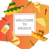 Flacher Sombrero und mexikanische Elemente mit Steigung Hintergrund-Vektor-Illustration